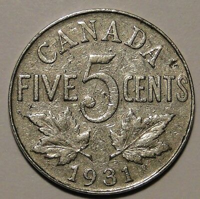 1931 Canada 5c 5 cent nickel George V coin
