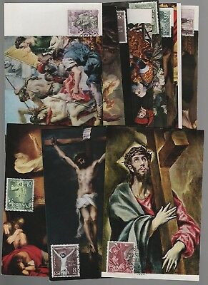 Spain 1962 Mysteries of the Rosary ordinary set of 11 Maximum Maxi cards