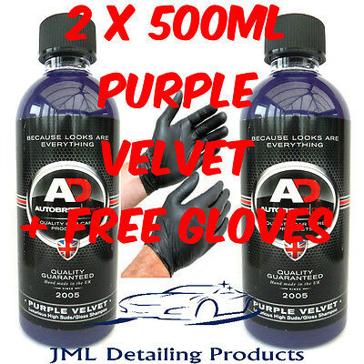 2 x 500ML AUTOBRITE DIRECT PURPLE VELVET LUXURY CAR SHAMPOO HIGH SUDS/GLOSS+GIFT