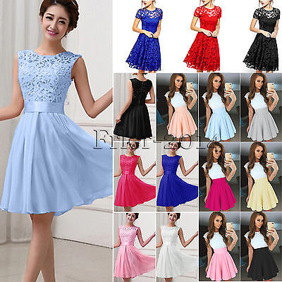 Womens Formal Lace Short Mini Dress Party Evening Cocktail Bridesmaid Ball Gown