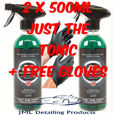 2 X 500Ml Autobrite Direct Just The Tonic Ultimate Tar & Glue Remover + Gloves