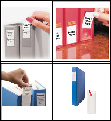 Self Adhesive Filing INDEX Pockets Insert Label Holders . Clear Transparent PVC