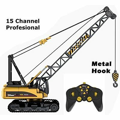 RC Construction Toy Crane 15 Channel Full Functional Metal Hook Battery Powered