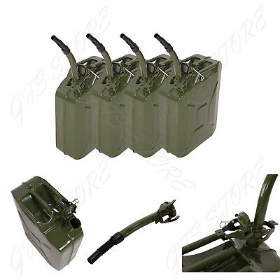4 Pack Jerry 5 Gal Gas Can 20L Fuel Army NATO Military Metal Steel Backup Tank
