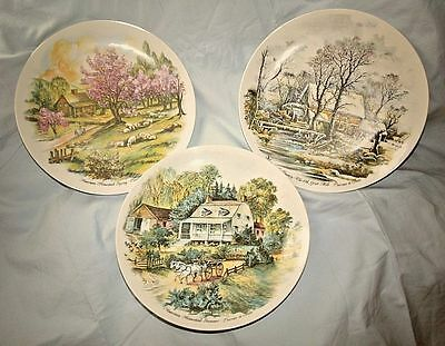 Lot of 3 Currier & Ives Plates - Winter - Spring - Summer - Bareuther Waldsassin