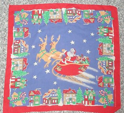 Vintage Christmas Santa Sleigh Table Cover Scarf Sewing Craft Fabric