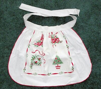 Vintage Christmas Apron White Red Trees Ornaments Candles