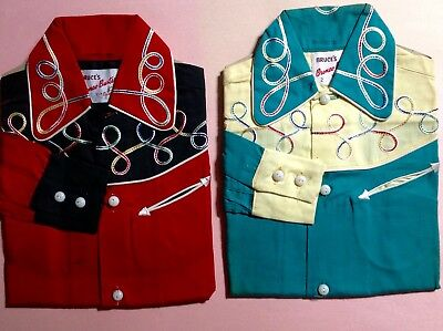 2 Vintage 40's Kids WESTERN SHIRT Cowboy Cowgirl RODEO BRONCO BUSTER DEAD STOCK
