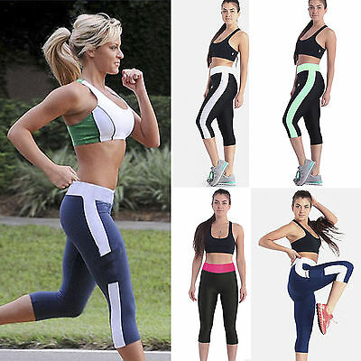 Women Capri 3/4 Leggings Fitness Gym Running Sports Yoga Cropped Pants Trousers