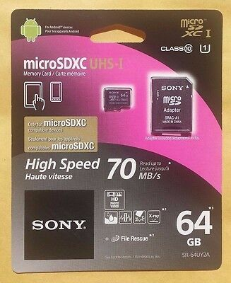 Sony 64GB micro SD SDXC Class 10 up to 70MB/s Memory Flash SD Card SR64UY2A