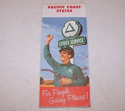 1958 Cities Service Pacific Coast States Map