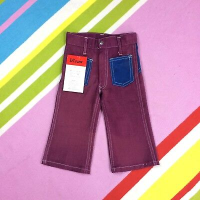 70s Vtg Kids Denim Jeans Flares Children's Burgundy Red Trousers Age 2 3 Years