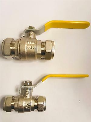 Gas Yellow Lever Ball Isolation Valve WRAS Yellow 15mm 22mm Compression