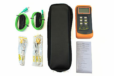 HVAC Thermometer Kit, 2 Velcro type Probes, Dual Input Thermometer and Case