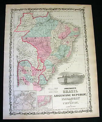 1862 Antique Original Johnson's Hand-Colored Map of BRAZIL, PARAGUAY & URUGUAY