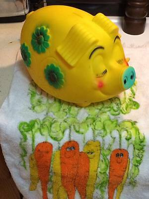 Vintage Reliable rubber daisy flower piggy bank made in Canada