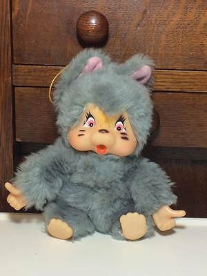 Vintage Grey kitten Monchichi / Monchhichi Nyamy thumb sucking doll