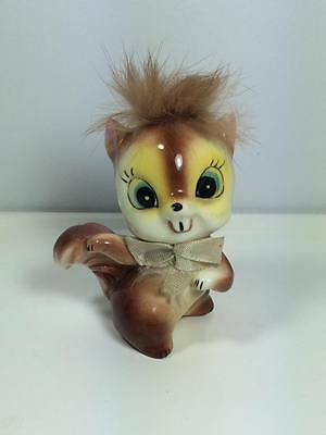 Vintage 1950's ceramic chipmunk with real fur figurine made in Japan