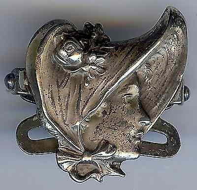 Unger Brothers Vintage Sterling Silver Woman's Face Buckle