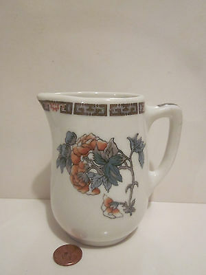Small White Syracuse Pottery Pitcher Syrup Creamer, Floral Pattern, Restaurant