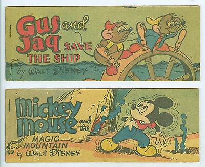 2 Small 1951 Walt Disney Mickey Mouse & Gus & Jag Comic Books 2 ½ x 7 Inches