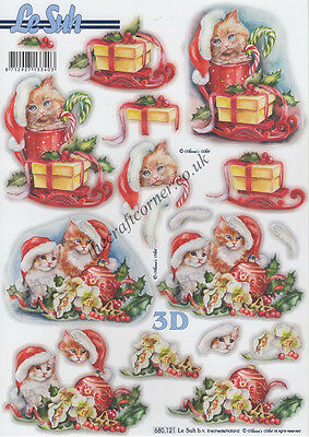 Christmas Cats Die Cut 3D Decoupage Sheet Paper Crafts Card Making NO CUTTING