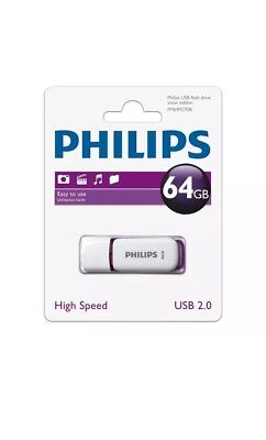 NEW 64GB Philips Snow Series USB 2.0 Flash Key Drive USB Memory Stick Brand New