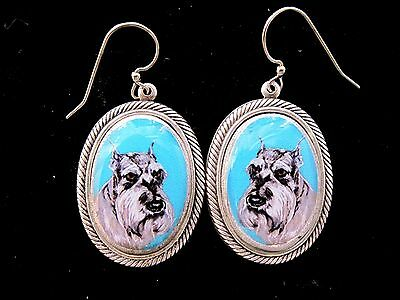 Schnauzer original art earrings