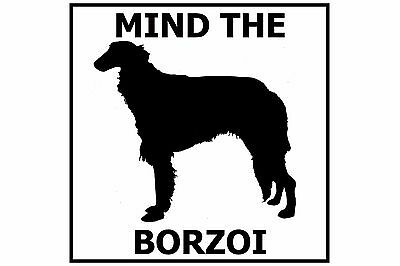 Mind the Borzoi Russian Wolfhound - Gate/Door Ceramic Tile Sign