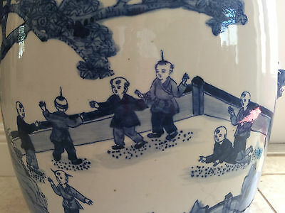 """Chinese Garden Stool Blue & White Porcelain 19 1/2"""" Tall with """"ears"""""""