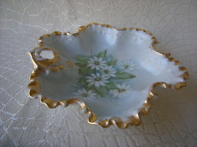 Antique Porcelain Fingerhold Candy Dish w Daisies Fluted Gold Trim