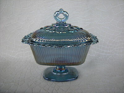 Indiana Glass Iridescent Blue Pedestal Candy Dish w Lid