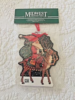 Mary Engelbreit Midwest Of Cannon Falls  Santa On Reindeer Ornament