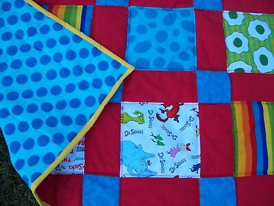 New Handmade Bright Dr. Seuss Cat in the Hat Baby Crib Quilt Bed Blanket
