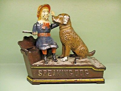 "Cast Iron ""SPEAKING DOG"" (BLUE DRESS) Mechanical Bank Original Antique Americana"