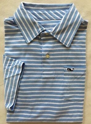 VINEYARD VINES Boys Jersey Polo Shirt SS Blue White Stripe NWT LARGE XL