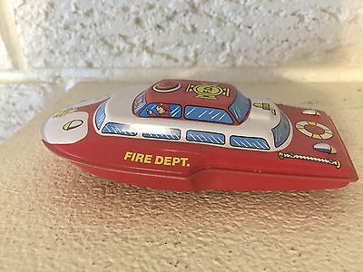 Schylling Fire Department Boat Friction Rolling  Tin Toy  new DL