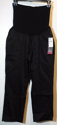 Oh Baby by MOTHERHOOD Black Satin Secret Fit Belly Maternity Capris S,M NEW! $50