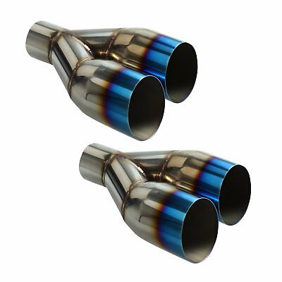 """2X Blue Burnt Single layer Slant Exhaust Tip Polished Stainless 2.5""""In X 3.5""""Out"""
