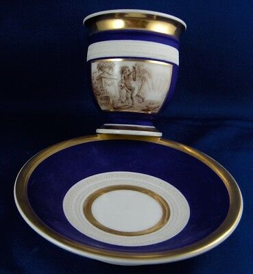 Antique Dagoty French Porcelain Blue Ground Scenic Cup & Saucer Scene Old France
