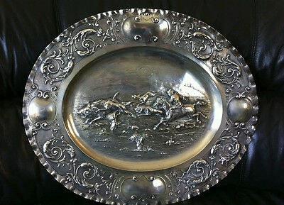 ANTIQUE SILVER 800 TRAY  HANDS EMBOSSED 18 CENTUR Italy ROGAI FIRENZE
