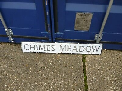 """VINTAGE 1950 60's CHIMES MEADOW pressed alloy road street sign,approx 45"""" x 7"""""""