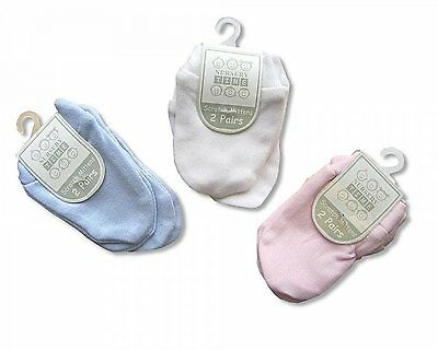 2 Pack Baby Scratch Mittens Blue Pink White - 100% Cotton