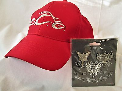 ORANGE COUNTY CHOPPERS Baseball HAT & Series 1 Official Motorcycle PIN Set ~ NEW