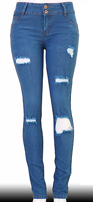 High Waist Stretch Push-Up Colombian Style Skinny Jeans in M.blue  WY161
