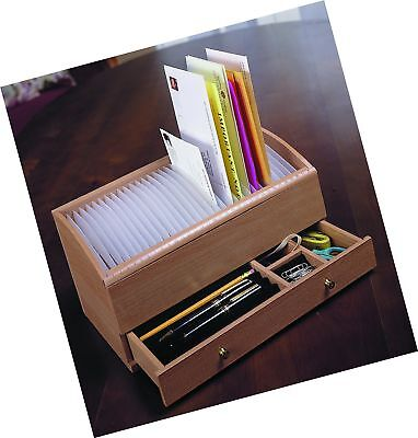 Natural Wood Space Saver Letter and Bill Organizer with Compartments Drawer a...