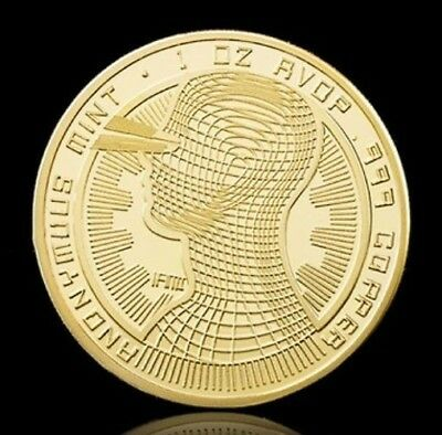 1 Pièce plaquée OR ( GOLD Plated Coin ) - Bitcoin Anonymous BTC ( Ref 2 )