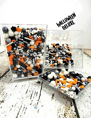 Halloween  Cake Decorations Sprinkles Orange Black White Cupcakes Trick Or Treat
