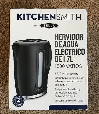 KitchenSmith by Bella Electric Tea Kettle 1.7 Liter 1500w - Black New Open Box