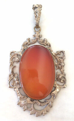 HUGE GORGEOUS Antique German Art Nouveau 800 SILVER CARNELIAN Pendant RARE